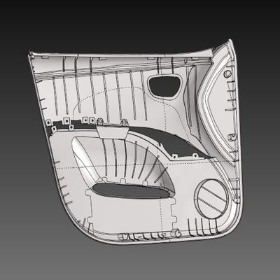 Meshing the Plastic Component of a Car Side Door Model using Hypermesh