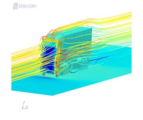 Flow over a Mercedes Benz Actros Truck using StarCCM+