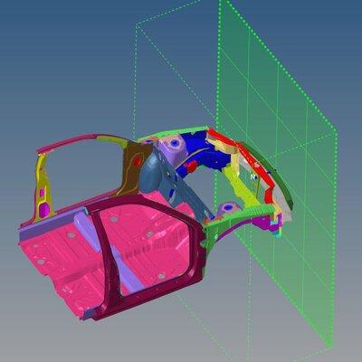 Frontal Crash Analysis of a Neon Car Model using Hypermesh and RADIOSS