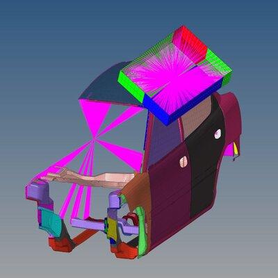 Roof Crash Analysis of a Neon Car Model using Hypermesh and RADIOSS